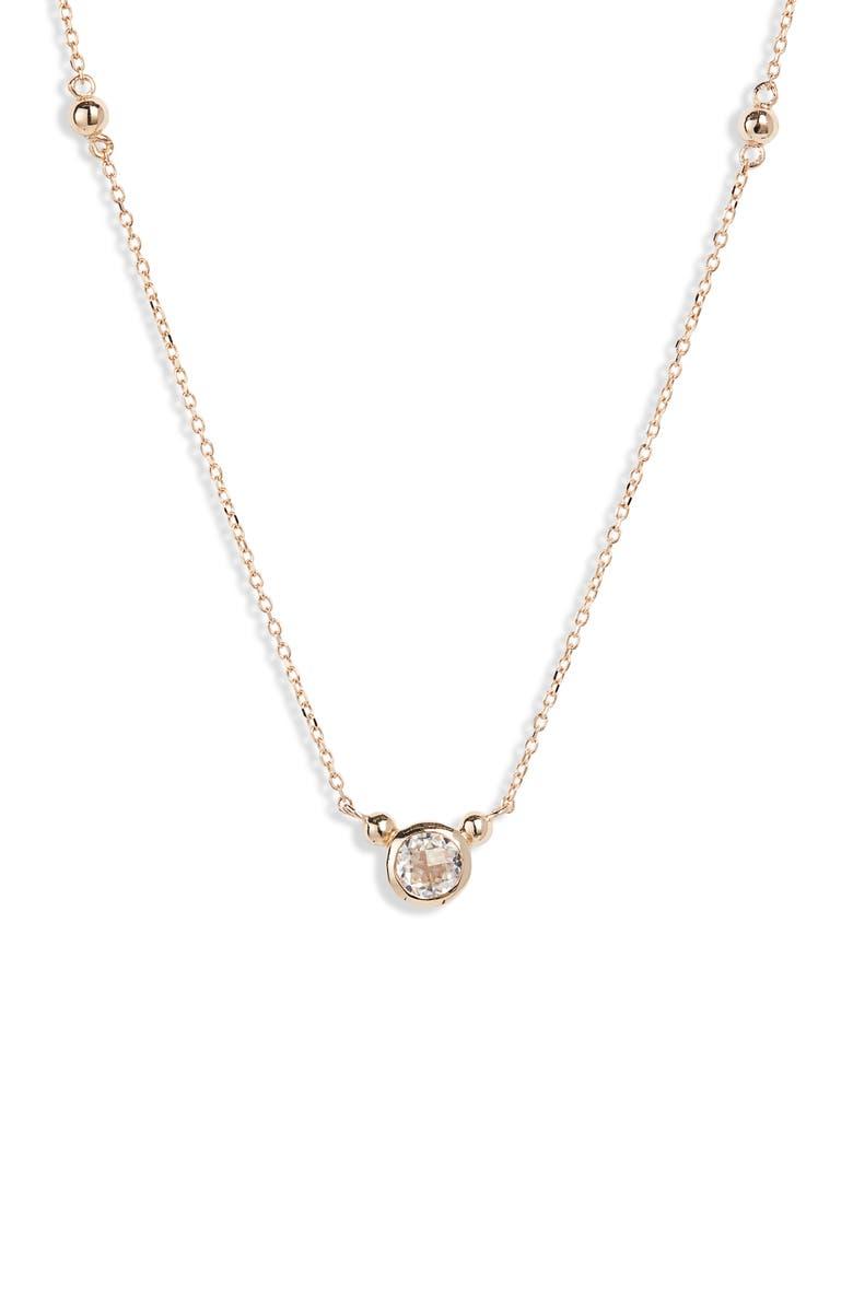 ANZIE Bonheur Pendant Necklace, Main, color, YELLOW GOLD/ WHITE