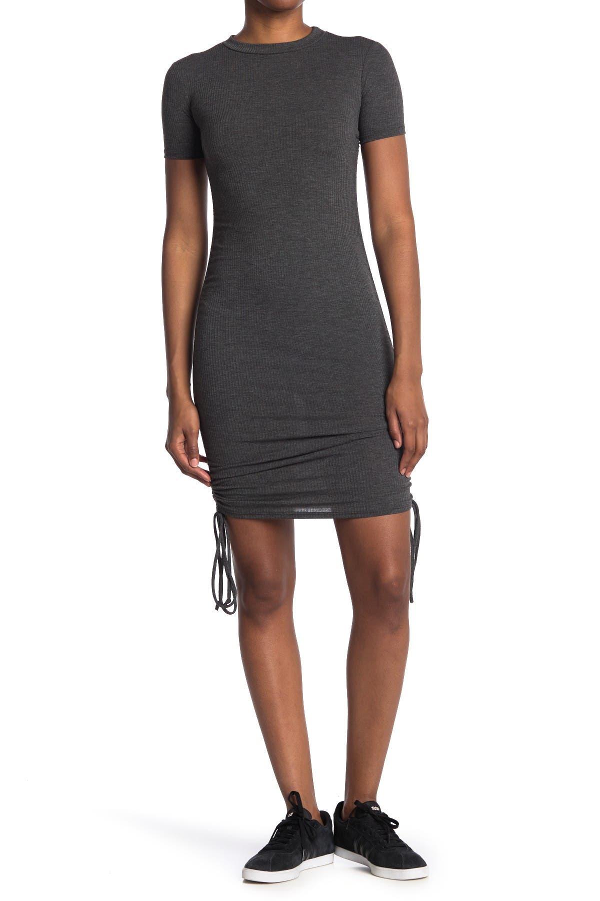 Image of Velvet Torch Ribbed Side Tie Mini Dress