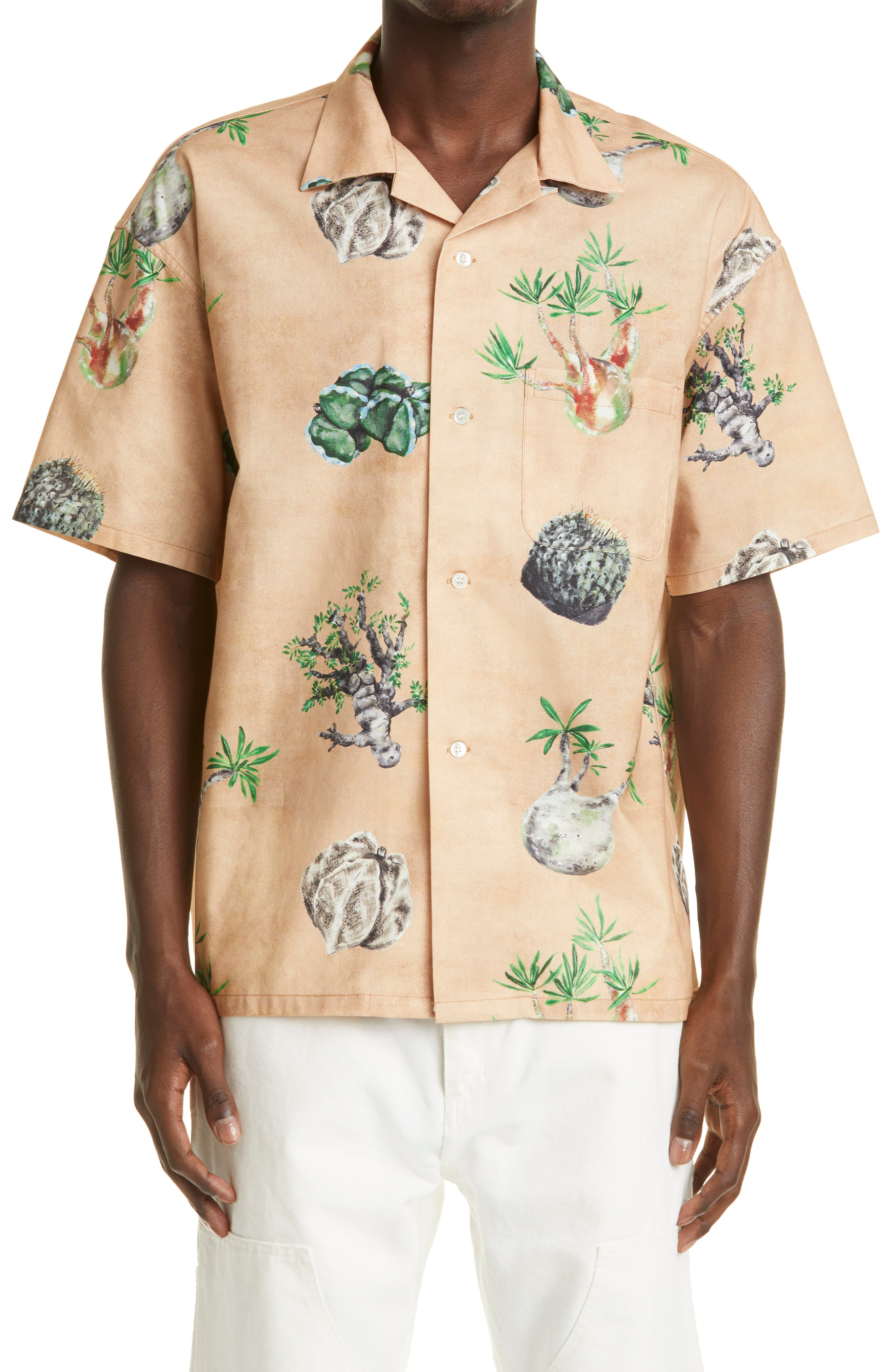 X Masa Sculp Cactus Short Sleeve Cotton Button-Up Shirt