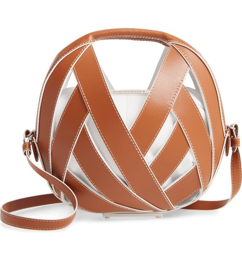 PERRIN Le Petit Panier Leather Shoulder Bag, Main, color, CARAMEL/ WHITE