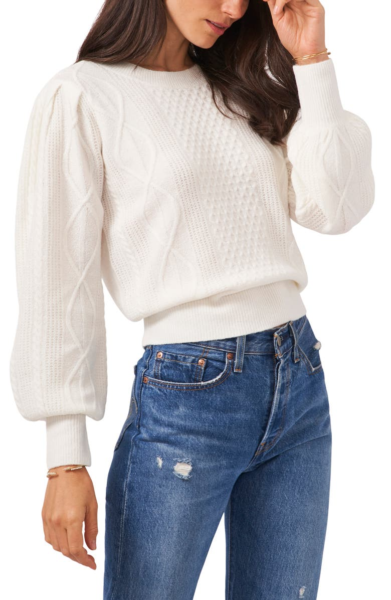 1.STATE Variegated Cables Crew Sweater, Main, color, ANTIQUE WHITE