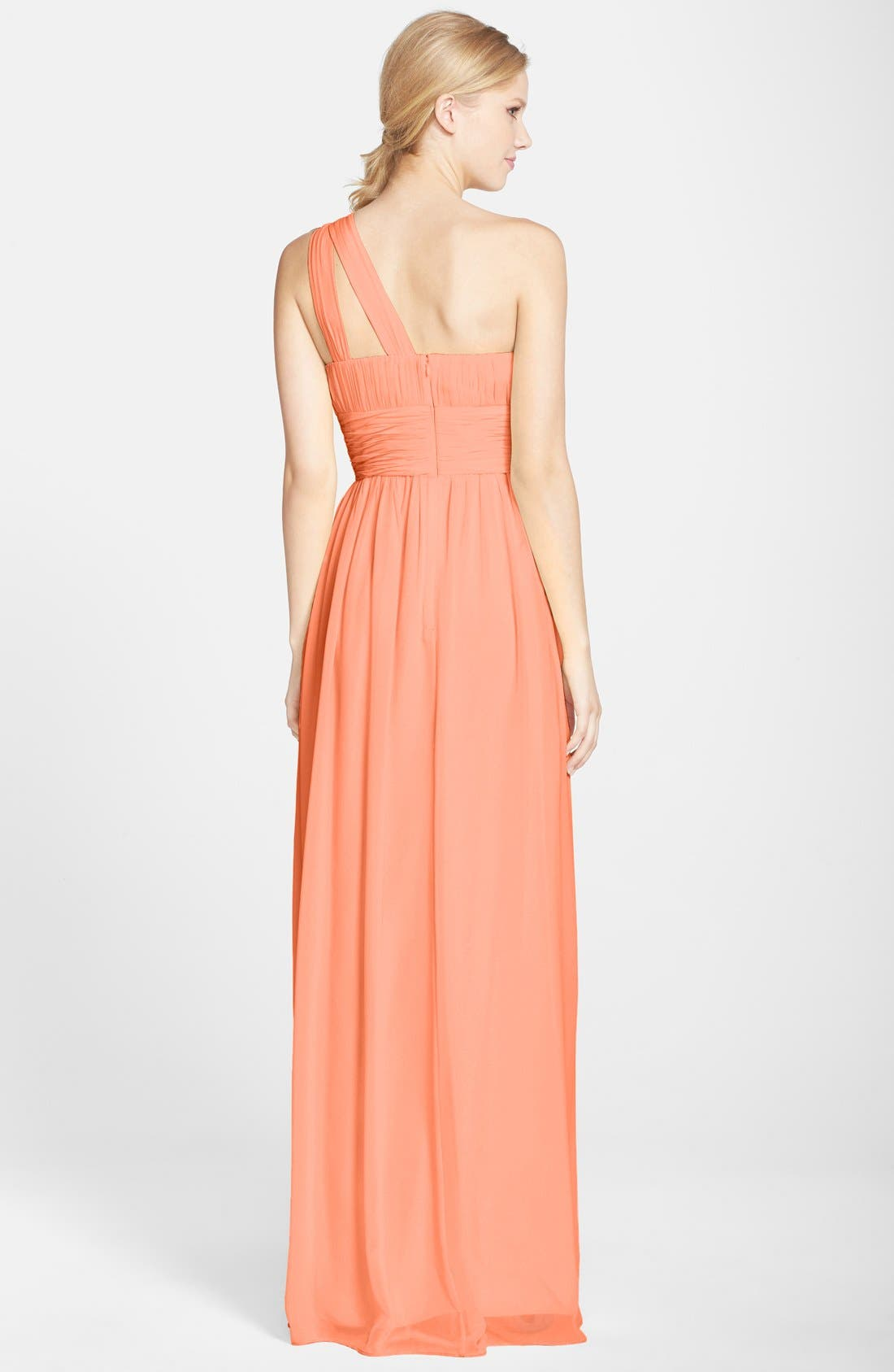,                             'Rachel' Ruched One-Shoulder Chiffon Gown,                             Alternate thumbnail 130, color,                             800