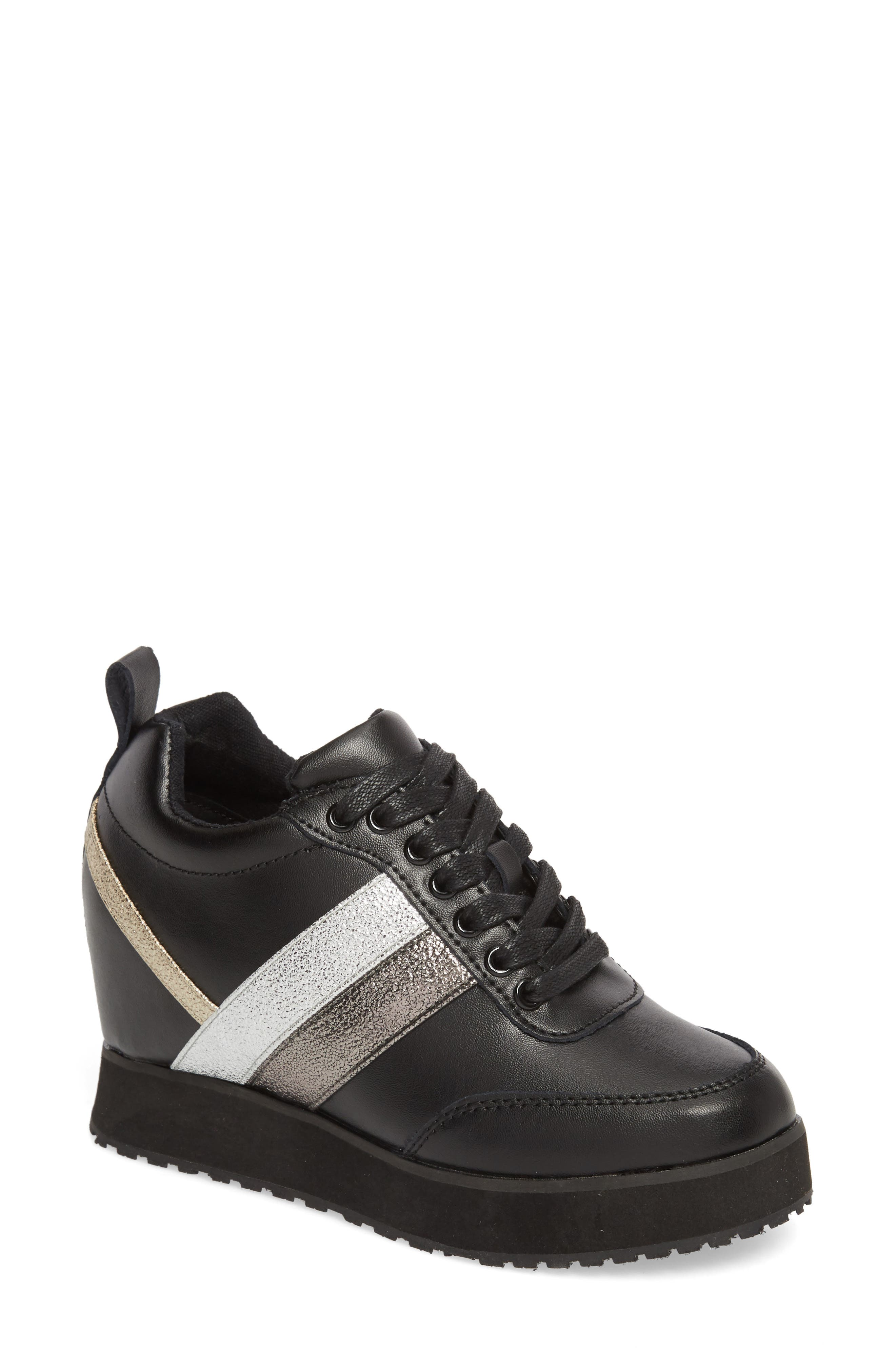 Very Volatile Sarita Hidden Wedge Sneaker, Black