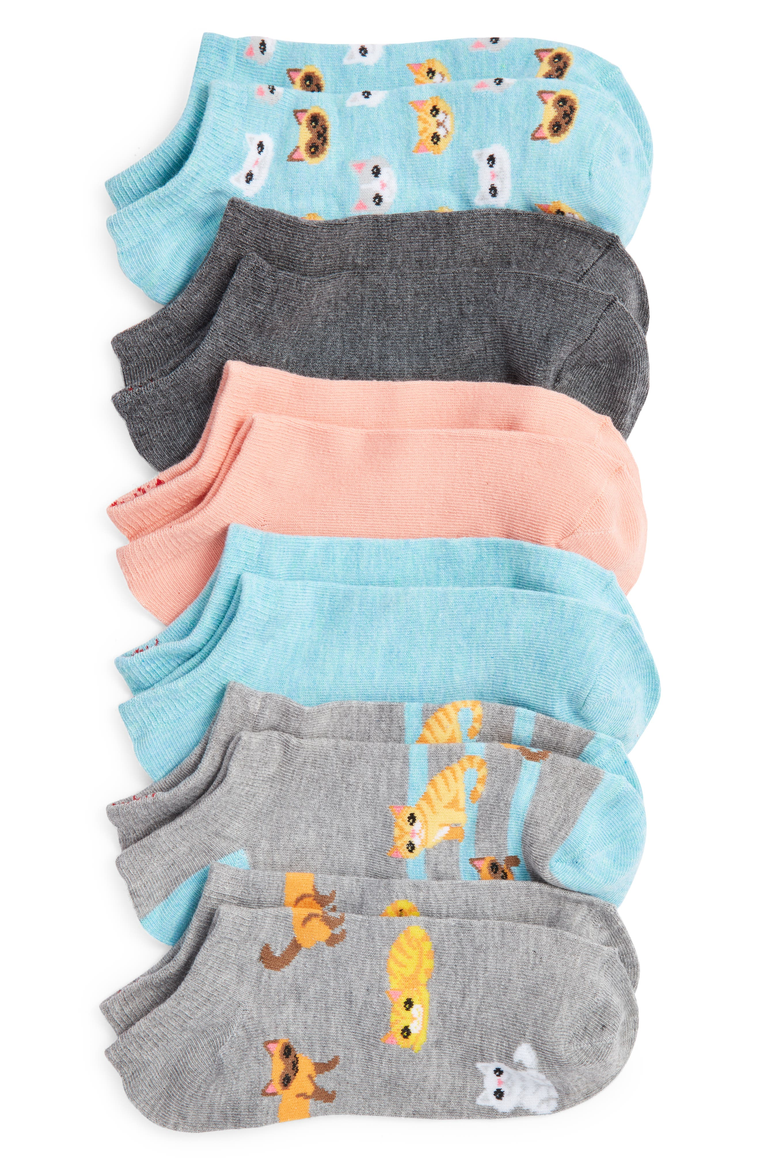 Cats Assorted 6-Pack Ankle Socks