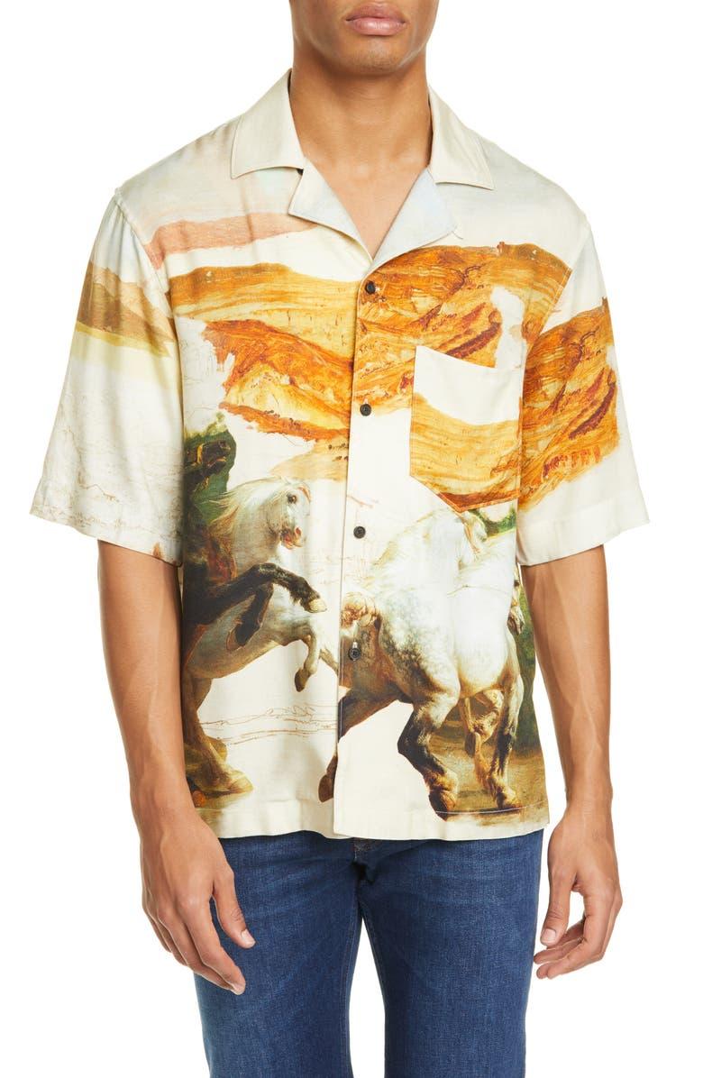 ACNE STUDIOS Simon Fluid Horse Short Sleeve Button-Up Shirt, Main, color, CREAM MULTI