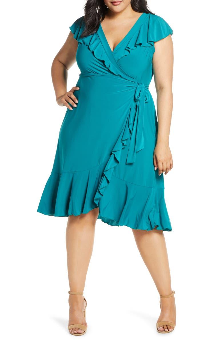 KIYONNA Phoebe Flounce Wrap Dress, Main, color, PEACOCK JADE