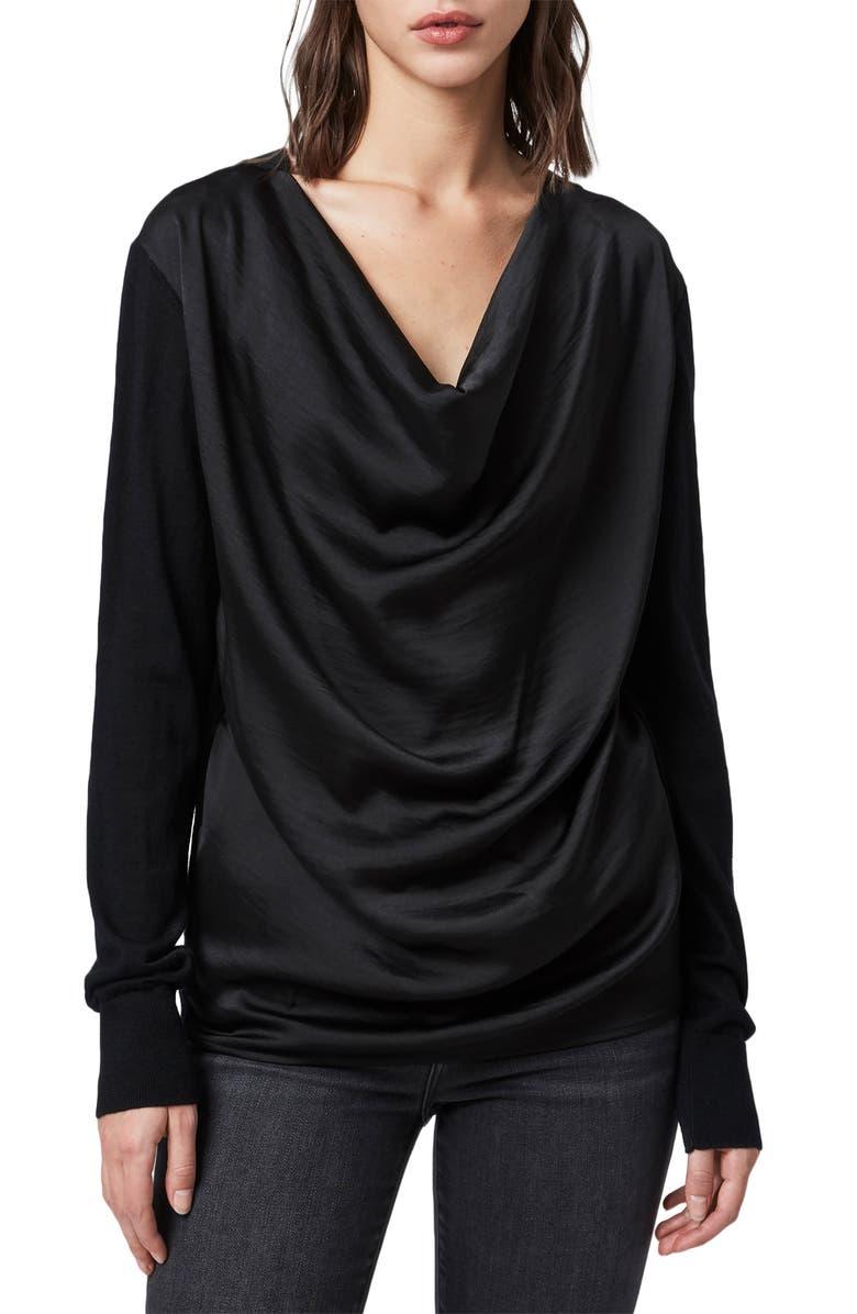 ALLSAINTS Celeste Cowl Neck Merino Wool Sweater, Main, color, BLACK