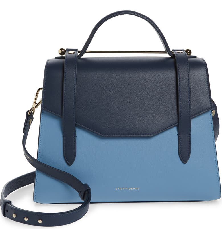 STRATHBERRY Midi Tricolor Allegro Calfskin Leather Tote, Main, color, ALICE BLUE/NAVY/ILLUSION BLUE