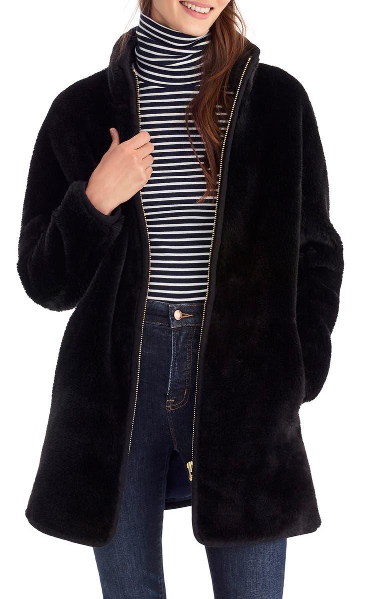 J.CREW Zip-Up Teddy Coat, Main, color, 001