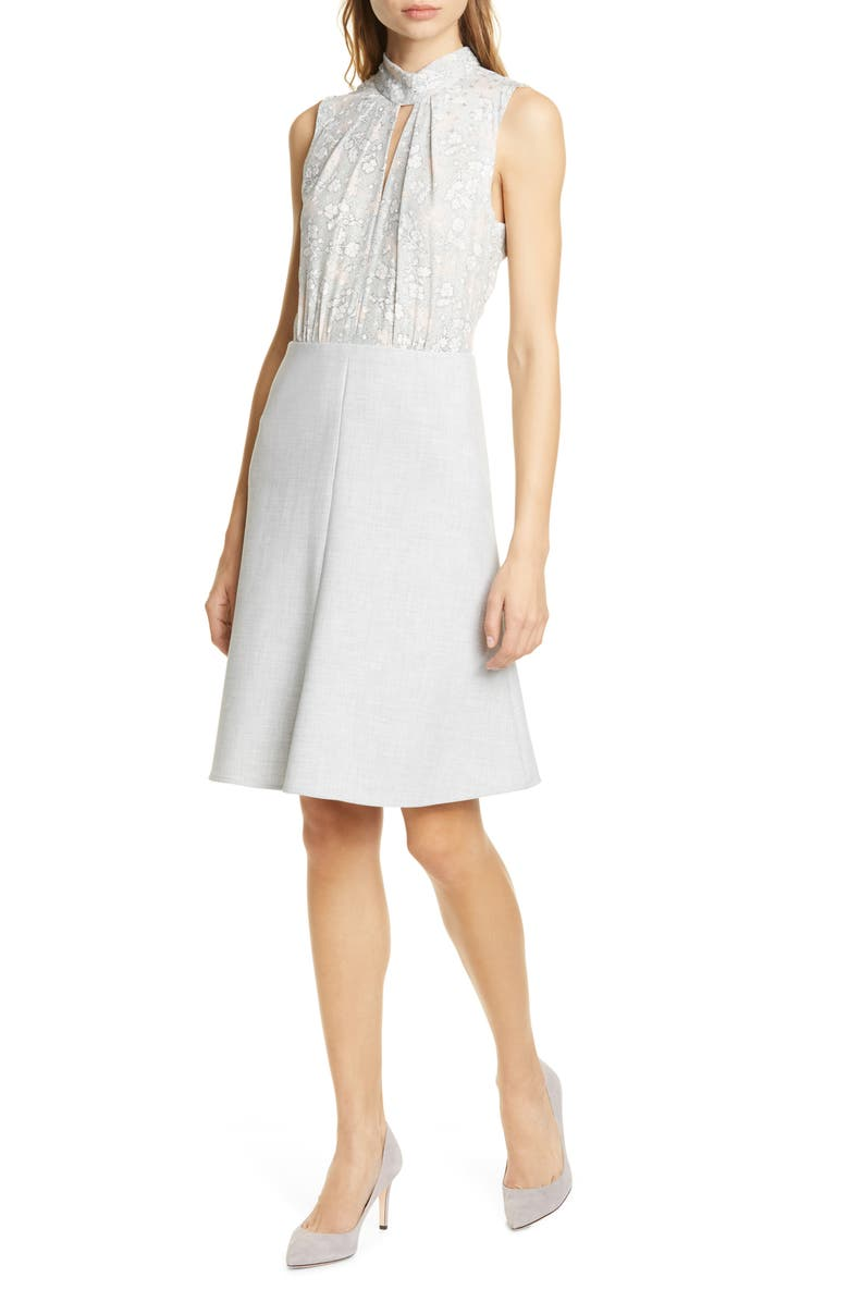 TAILORED BY REBECCA TAYLOR Aime Fit & Flare Dress, Main, color, GREY COMBO