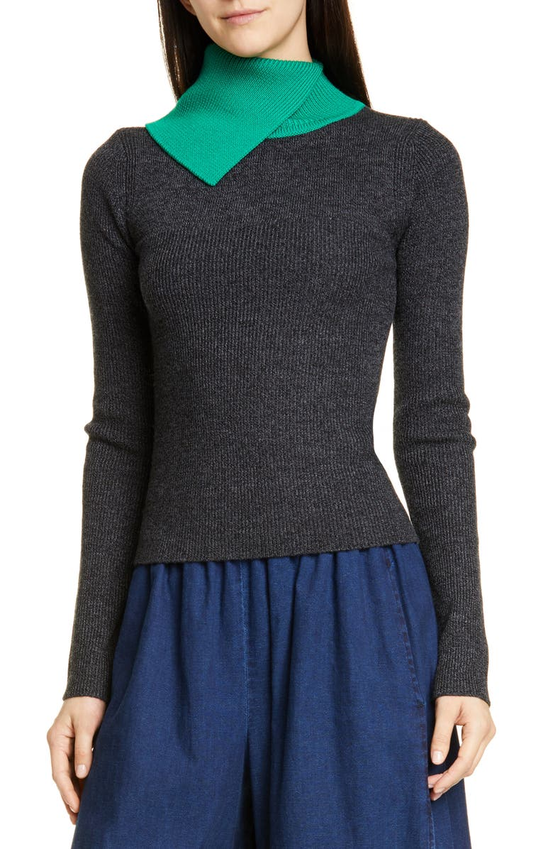 SEE BY CHLOÉ Contrast Turtleneck Ribbed Wool Sweater, Main, color, 961