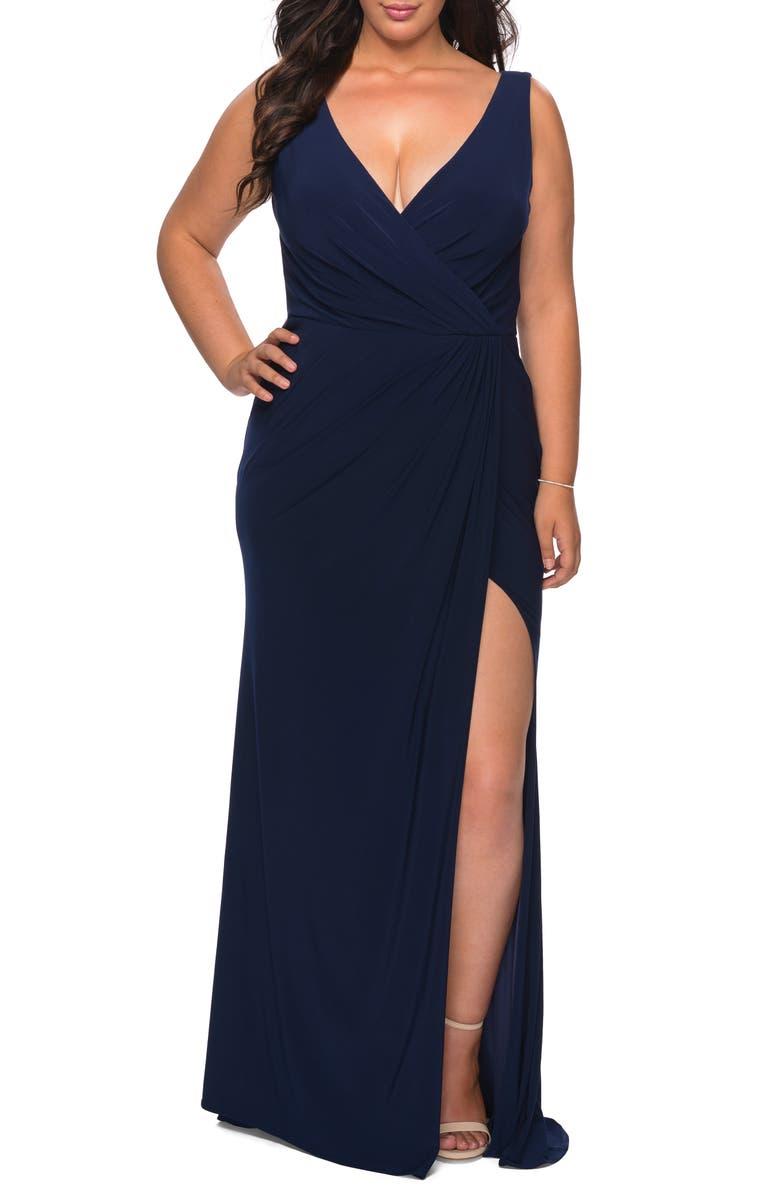 LA FEMME Slit Jersey Gown, Main, color, 410