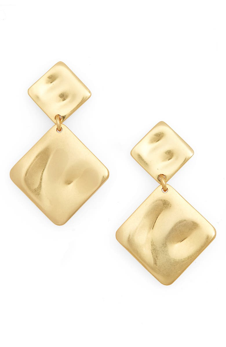 MADEWELL Hammered Drop Earrings, Main, color, VTG GOLD