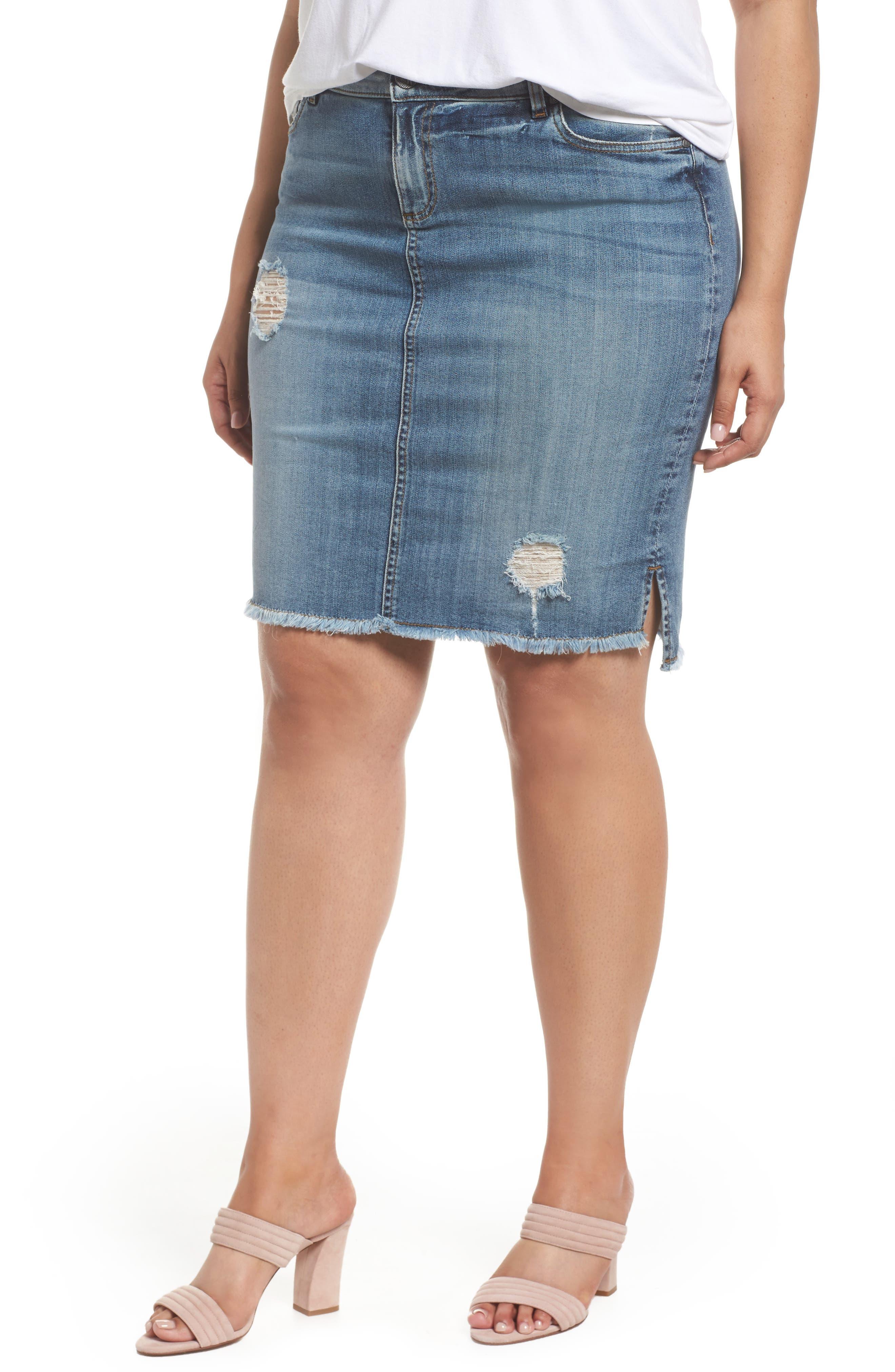 ,                             Connie Step Hem Denim Skirt,                             Main thumbnail 1, color,                             MEDITATIVE