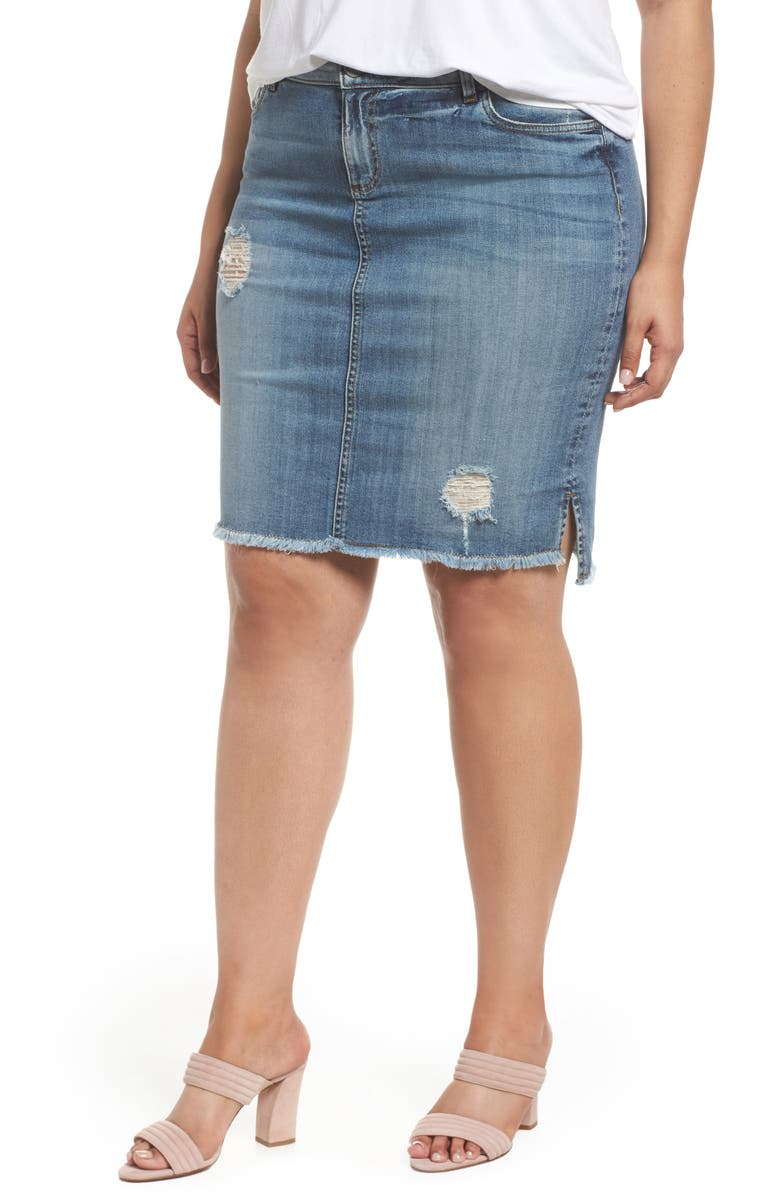 KUT From The Kloth Connie Step Hem Denim Skirt Plus Size