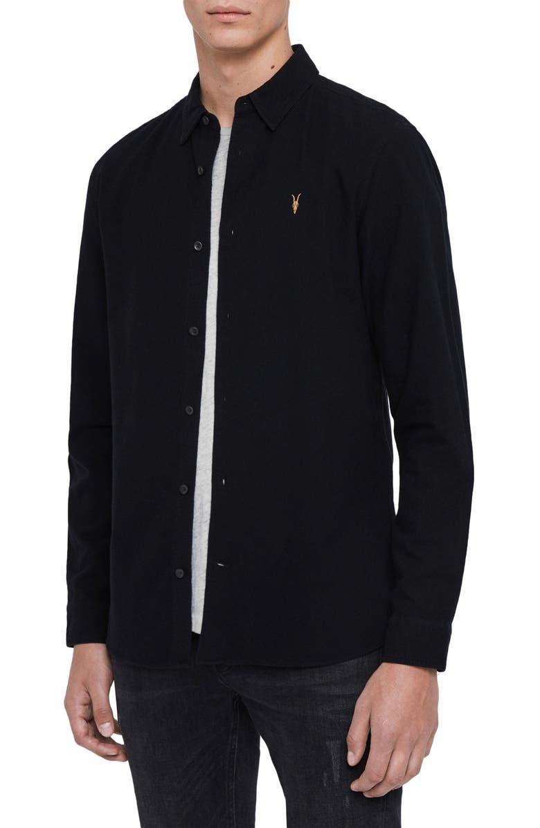 ALLSAINTS Oakland Slim Fit Button-Up Shirt, Main, color, 003