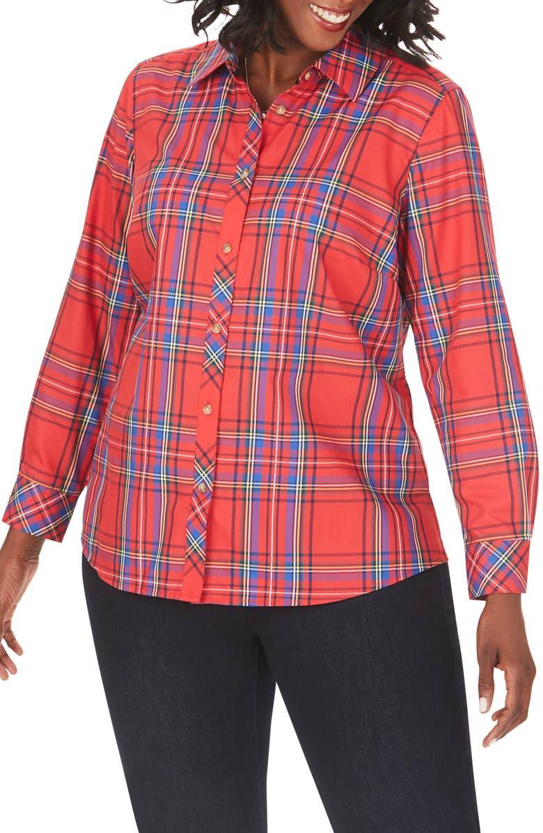 FOXCROFT Diane Emerson Tartan Wrinkle-Free Shirt, Main, color, CHRISTMAS RED