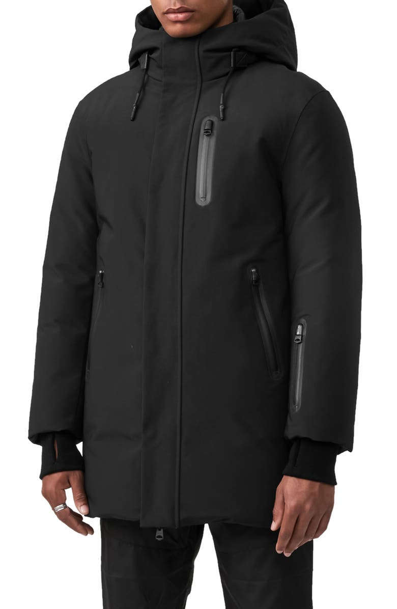 MACKAGE Chano Water Repellent Hooded Down Coat, Main, color, BLACK