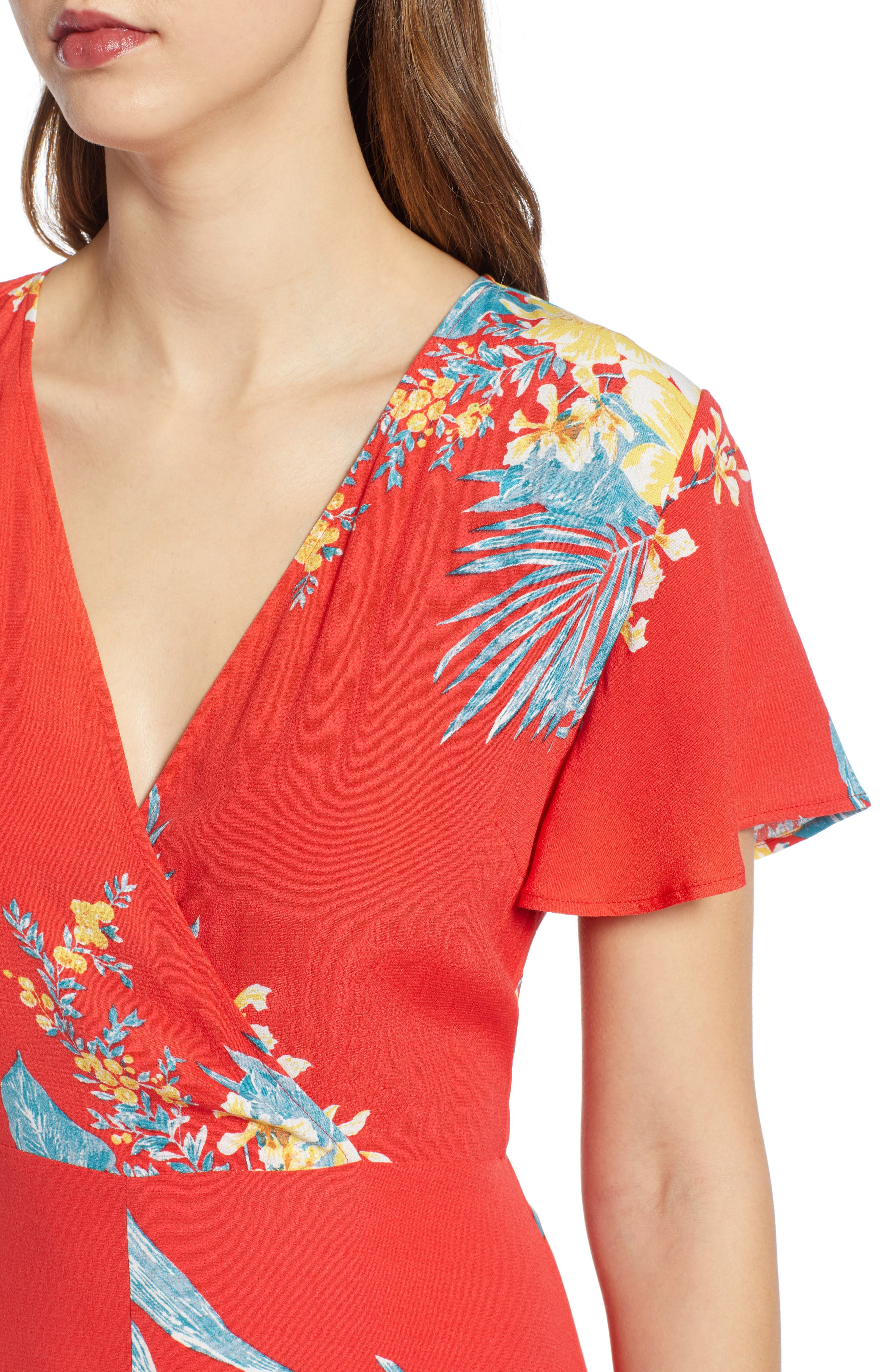 ,                             Surplice Maxi Dress,                             Alternate thumbnail 5, color,                             RED SCARLET ILLUSTRATED FLORAL