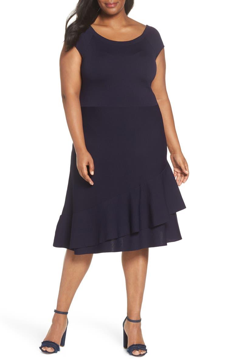 ELIZA J Double Ruffle Dress, Main, color, 410