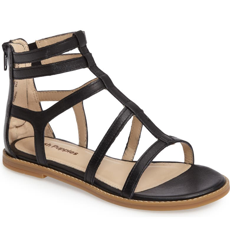 HUSH PUPPIES<SUP>®</SUP> Abney Chrissie Cage Sandal, Main, color, 001