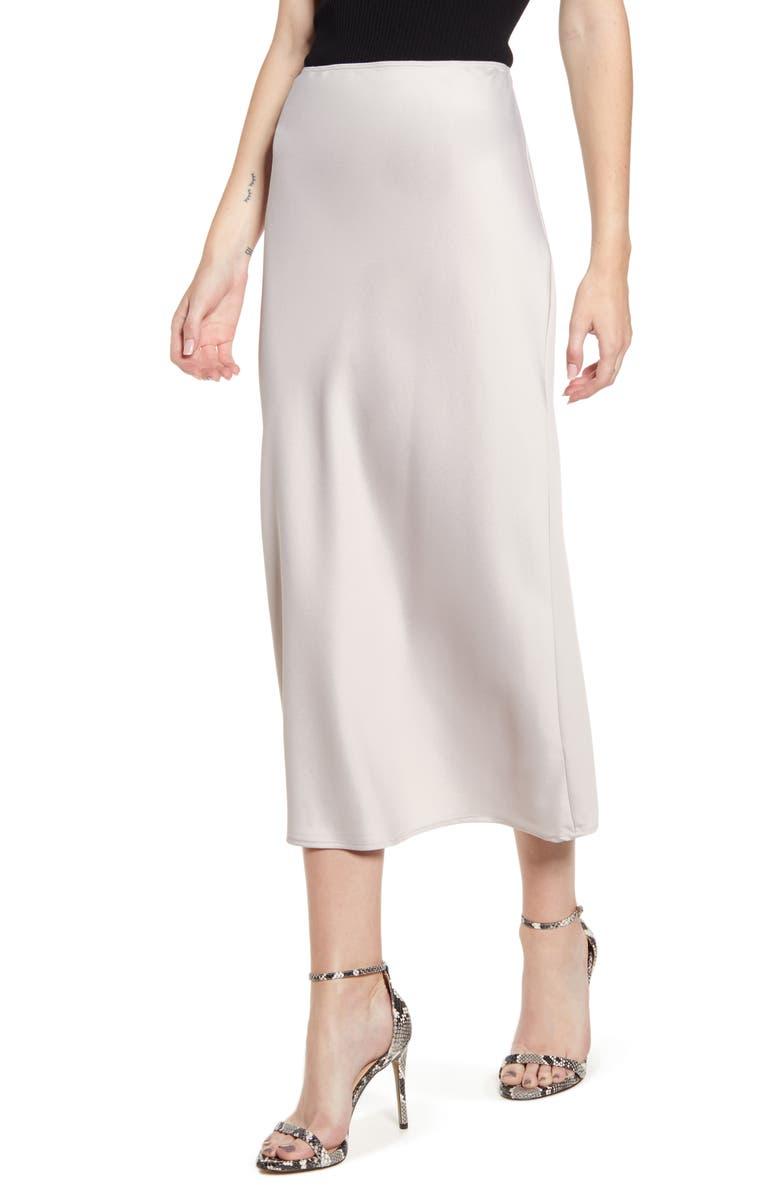 TOPSHOP Matte Satin Bias Cut Skirt, Main, color, GREY