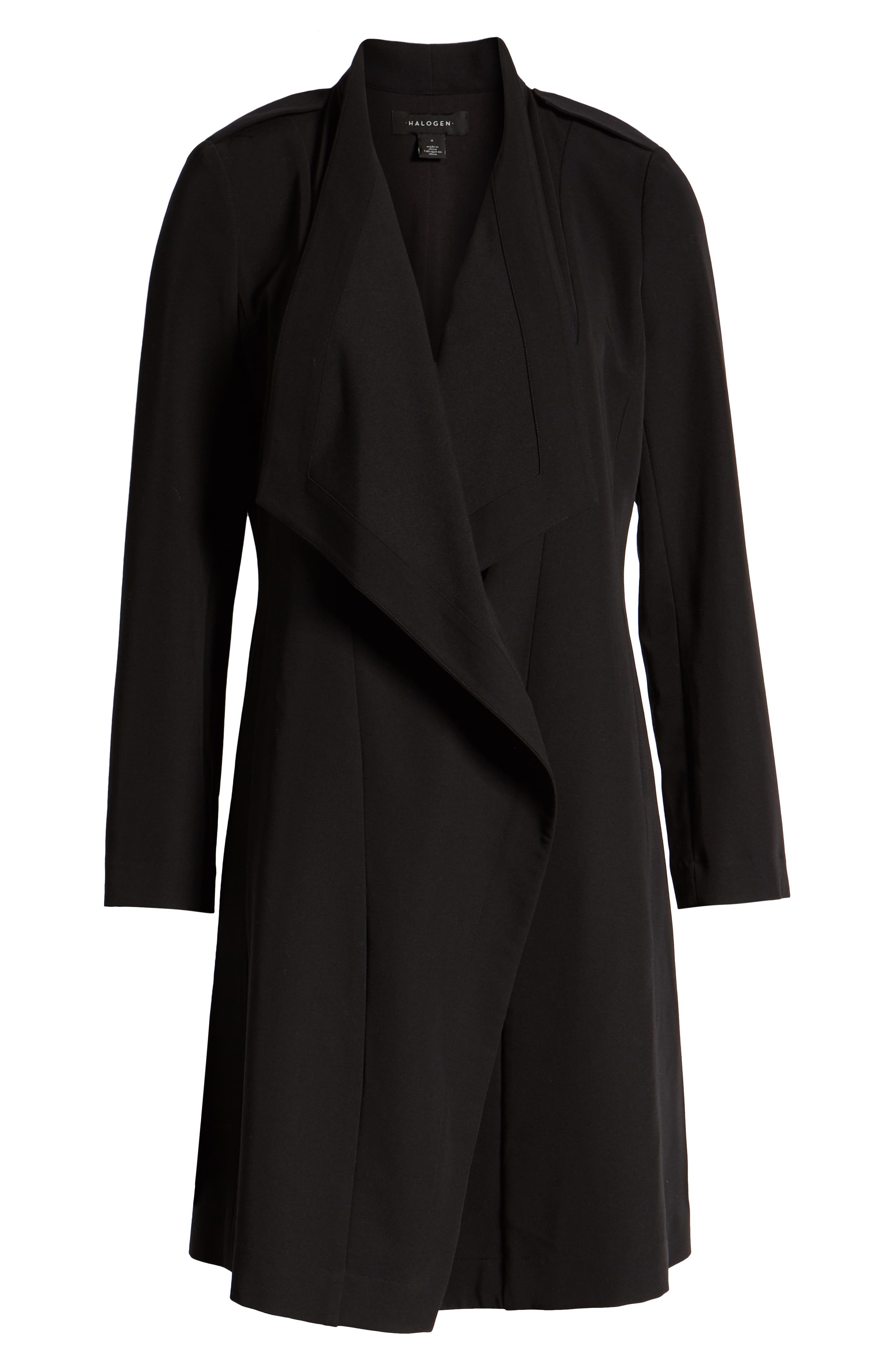 ,                             Drape Front Lightweight Jacket,                             Alternate thumbnail 8, color,                             BLACK