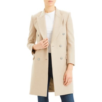 Theory Double Breasted Wool Coat, Beige