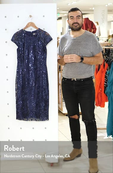 Cap Sleeve Sequin Sheath Dress, sales video thumbnail