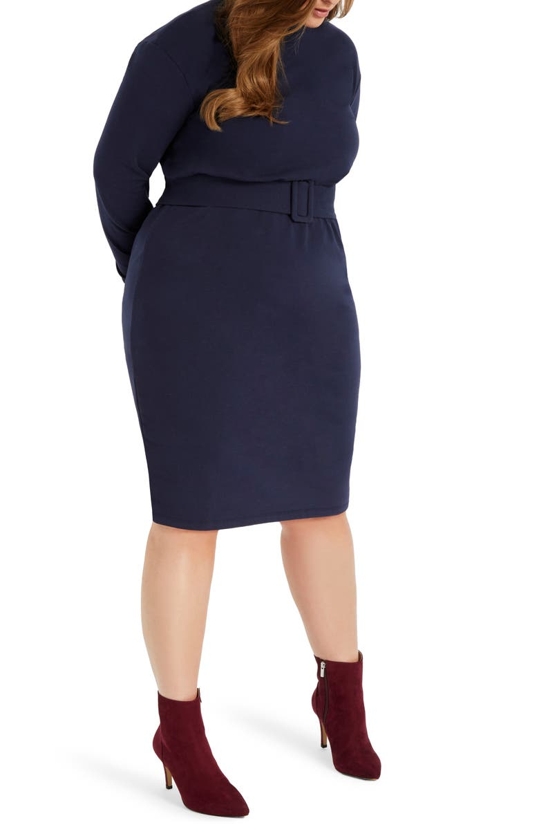 ELOQUII Long Sleeve Fleece Knit Dress, Main, color, NAVY