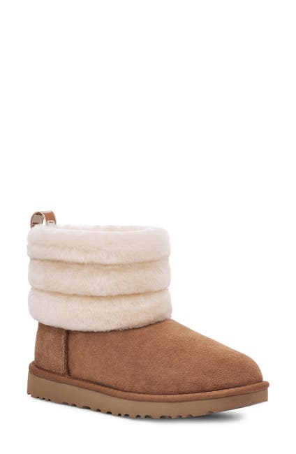 Image of UGG Classic Mini Genuine Shearling Fluff Quilted Boot