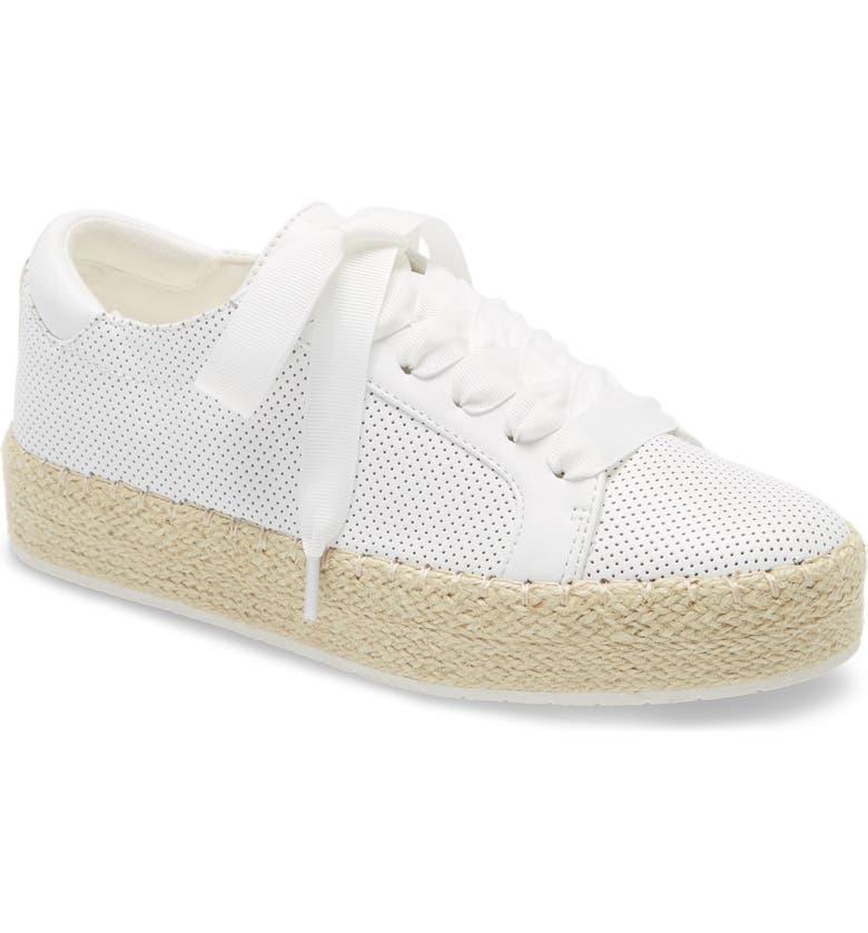 KENNETH COLE NEW YORK Kamspadrille Platform Sneaker, Main, color, WHITE LEATHER