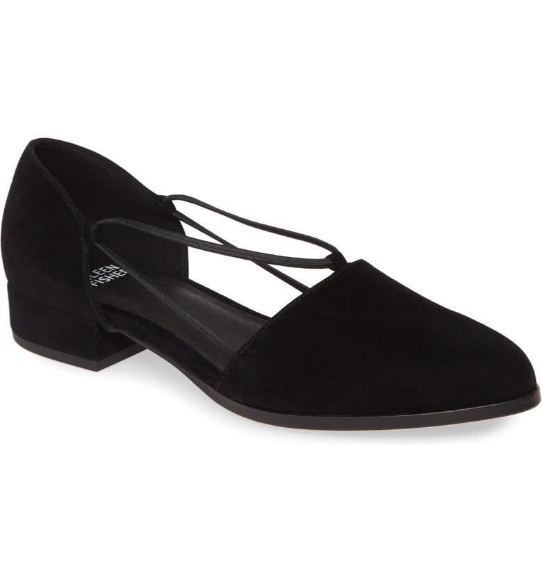 EILEEN FISHER Honey Flat, Main, color, BLACK SUEDE