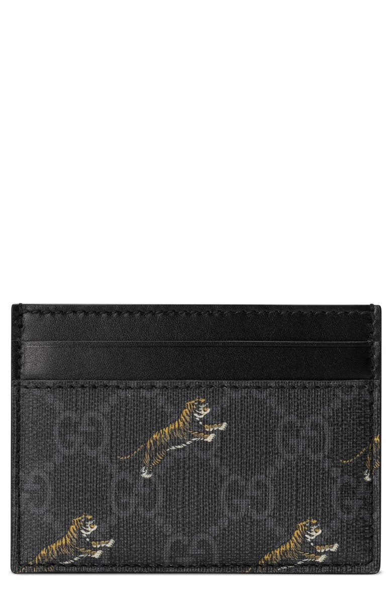 GUCCI Tiger GG Canvas Card Case, Main, color, BLACK MULTI/BLACK