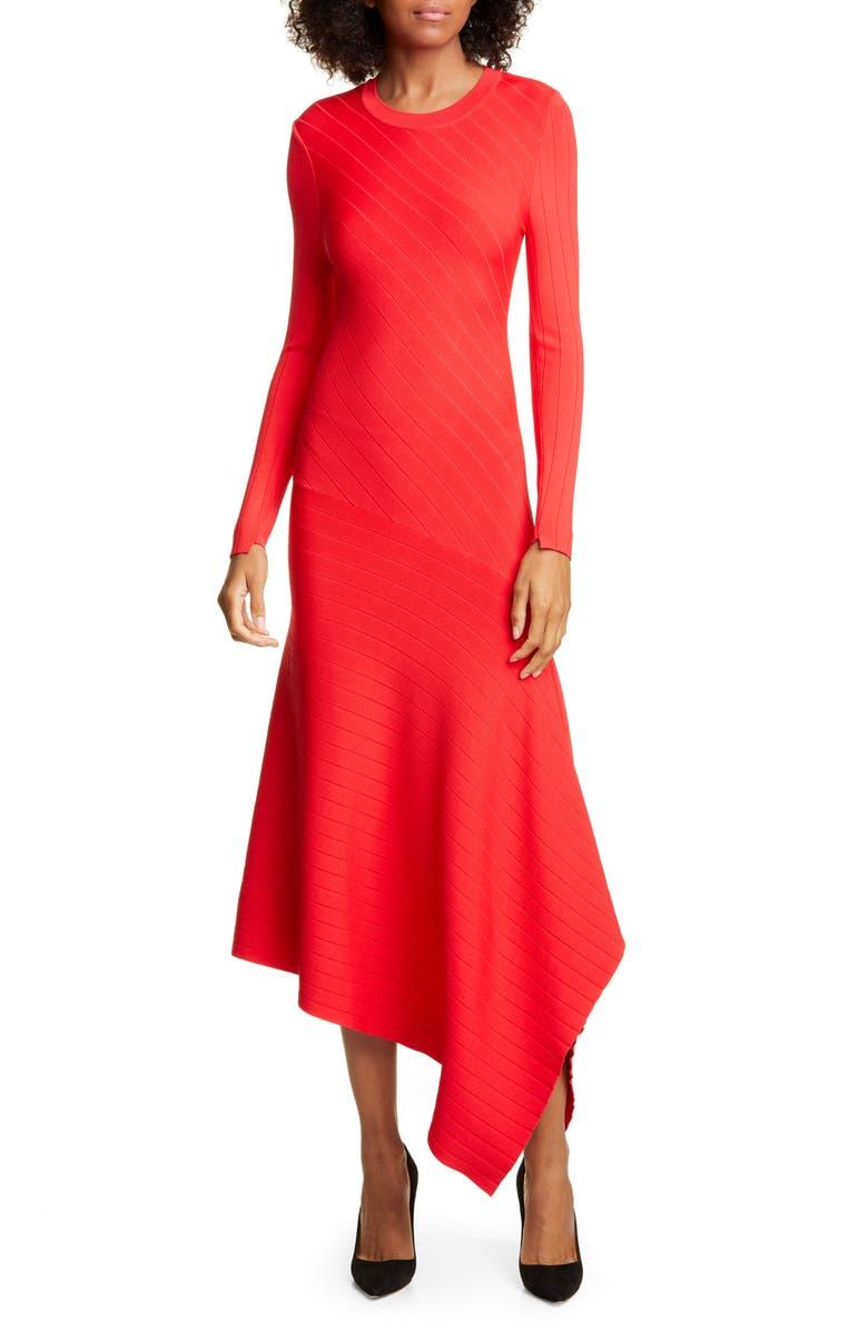 A.L.C. Viviana Asymmetrical Long Sleeve Dress, Main, color, RED