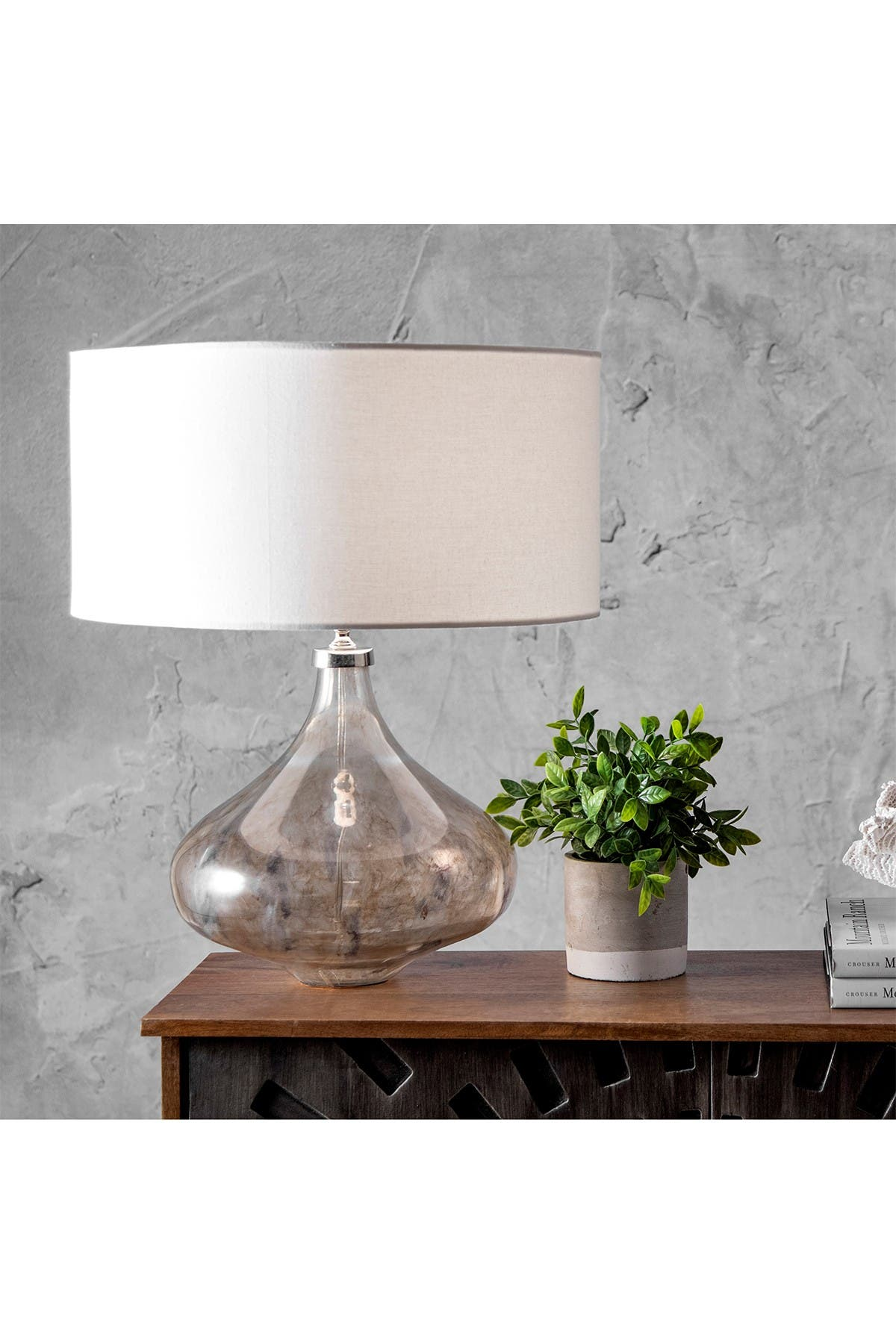 "Image of nuLOOM Gray Glass Teardrop 21"" Linen Shade Table Lamp"