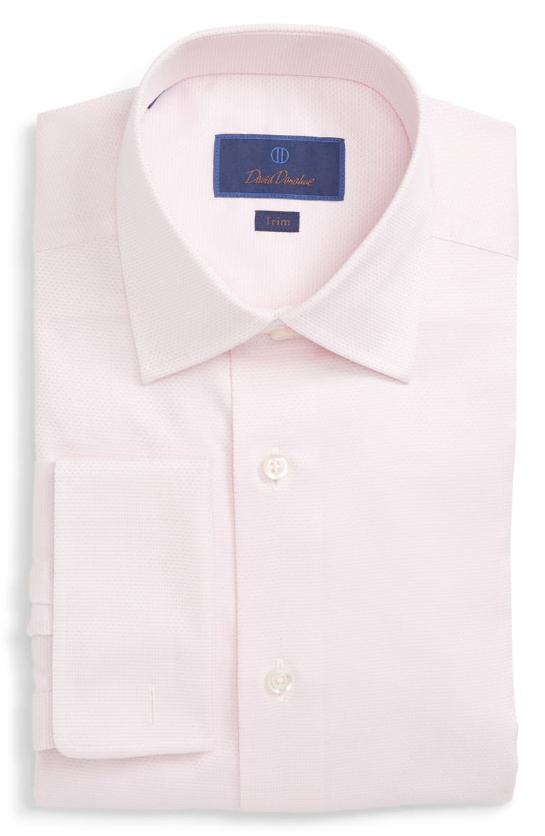 DAVID DONAHUE Trim Fit Solid Dress Shirt, Main, color, PINK