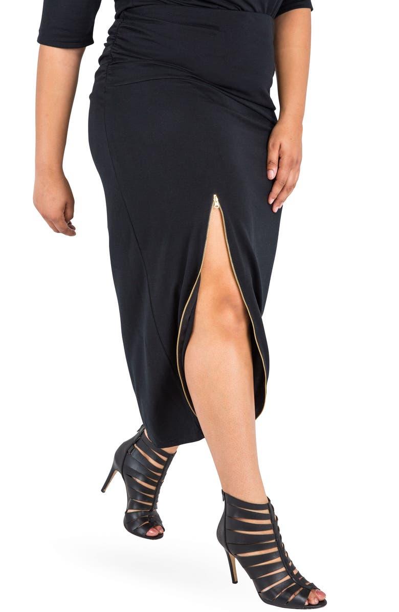 POETIC JUSTICE Kandi Zip Slit Maxi Skirt, Main, color, BLACK
