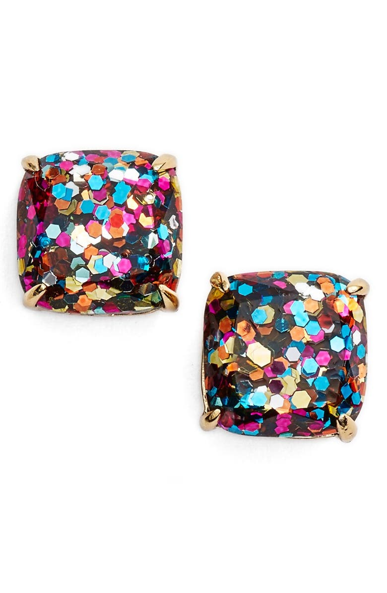 KATE SPADE NEW YORK mini small square stud earrings, Main, color, MULTI GLITTER/ GOLD