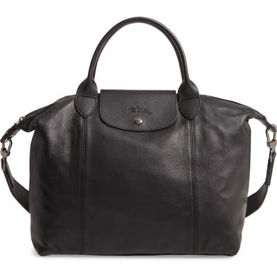Longchamp Medium Le Pliage Cuir Leather Top Handle Tote - Black