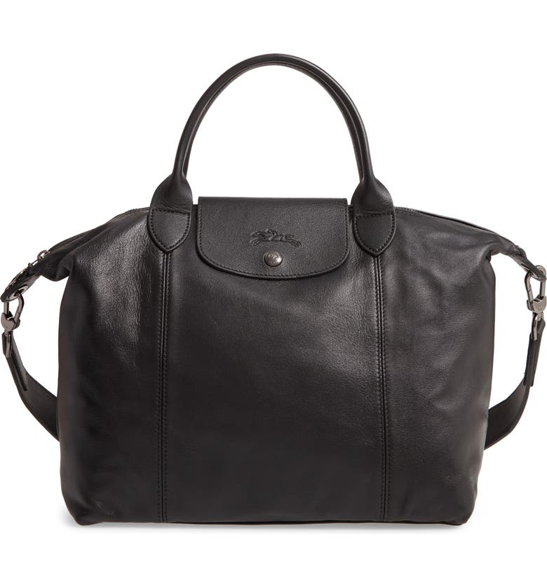 LONGCHAMP Medium Le Pliage Cuir Leather Top Handle Tote, Main, color, BLACK