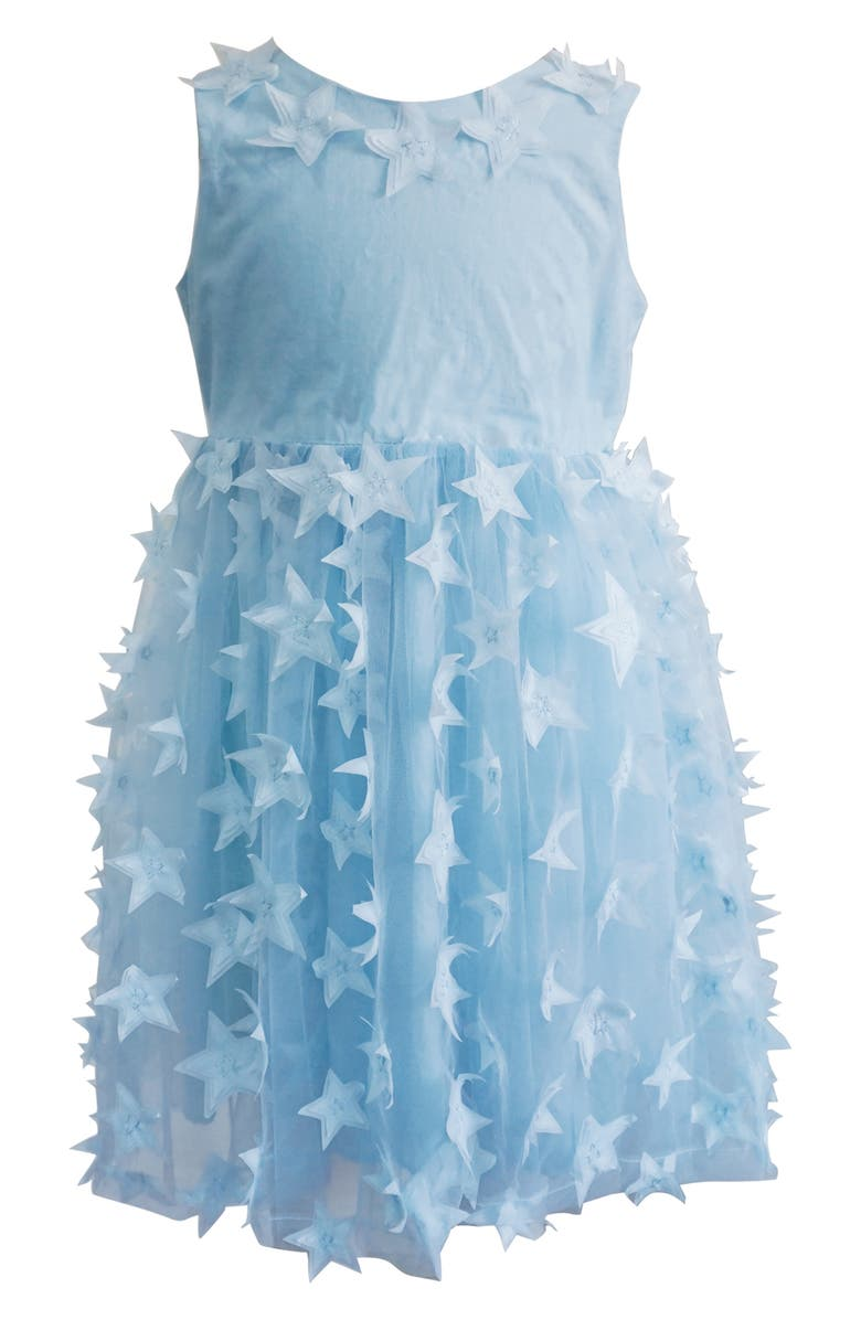 POPATU Star Appliqué Tulle Dress, Main, color, BLUE