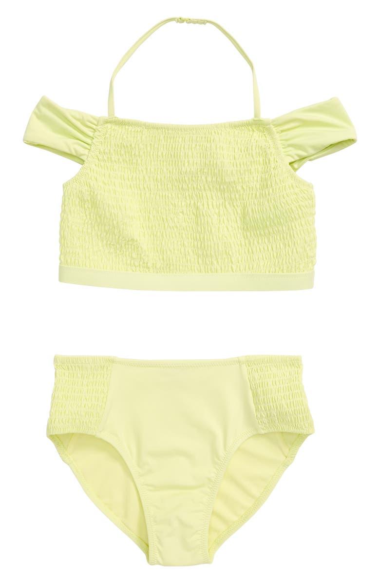 HABITUAL GIRL Habitual Smocked Two-Piece Swimsuit, Main, color, YELLOW