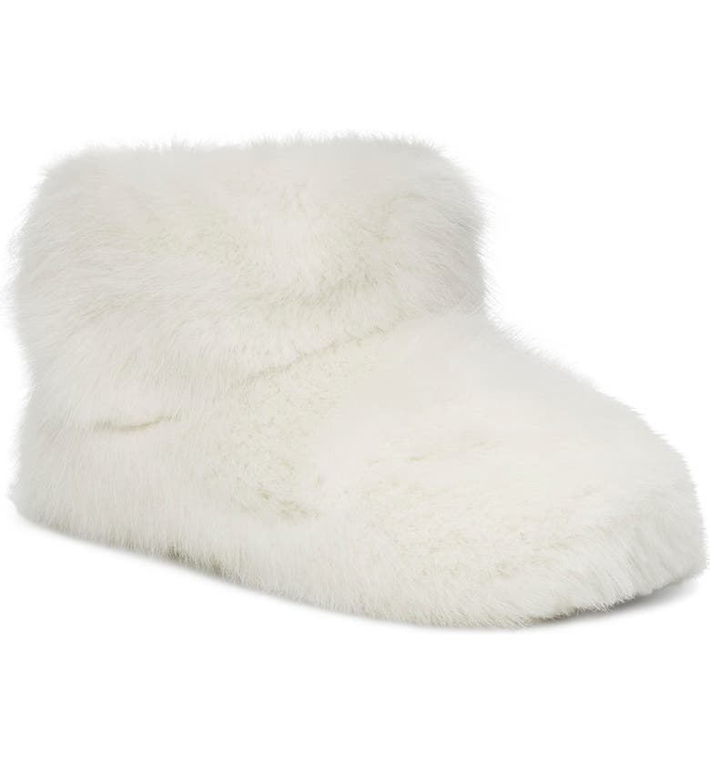 UGG<SUP>®</SUP> Amary Faux Fur Slipper Bootie, Main, color, WHITE FABRIC