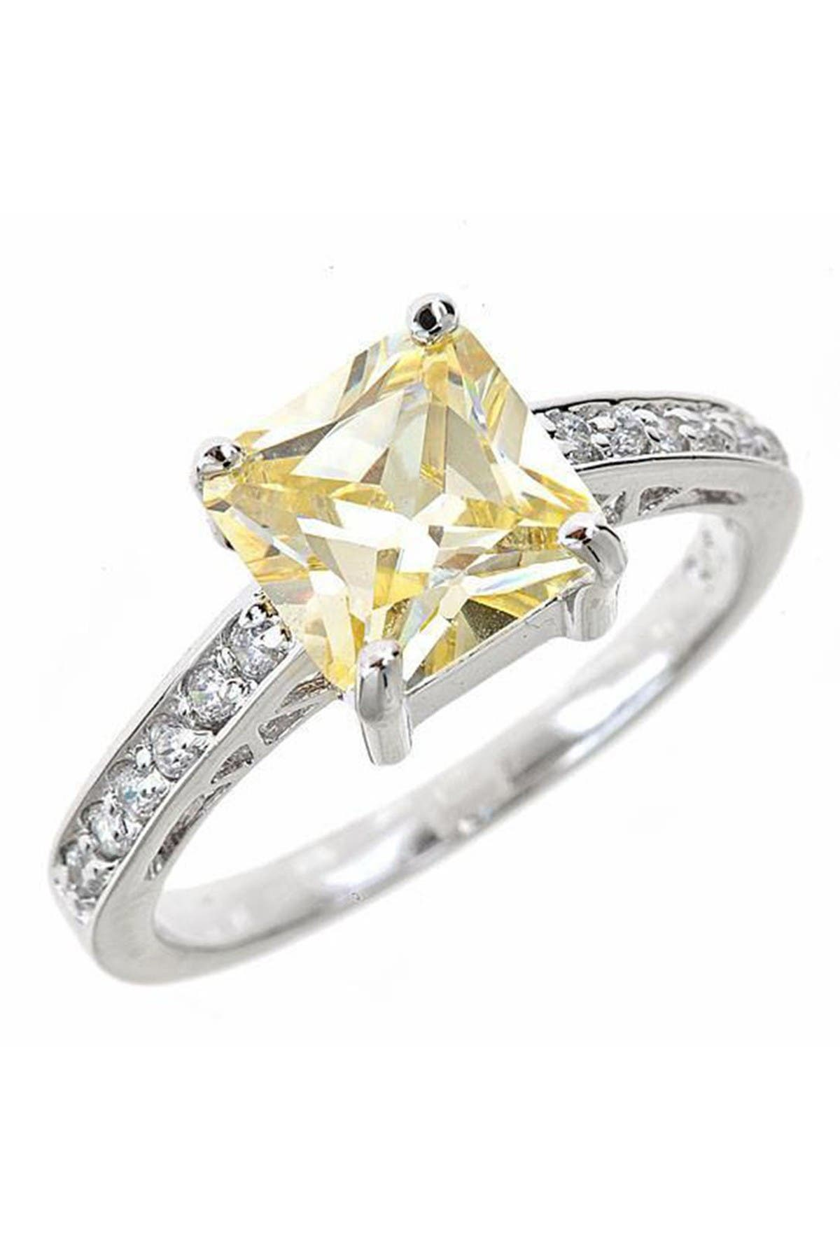 Image of Sterling Forever Sterling Silver Canary CZ Engagement Ring
