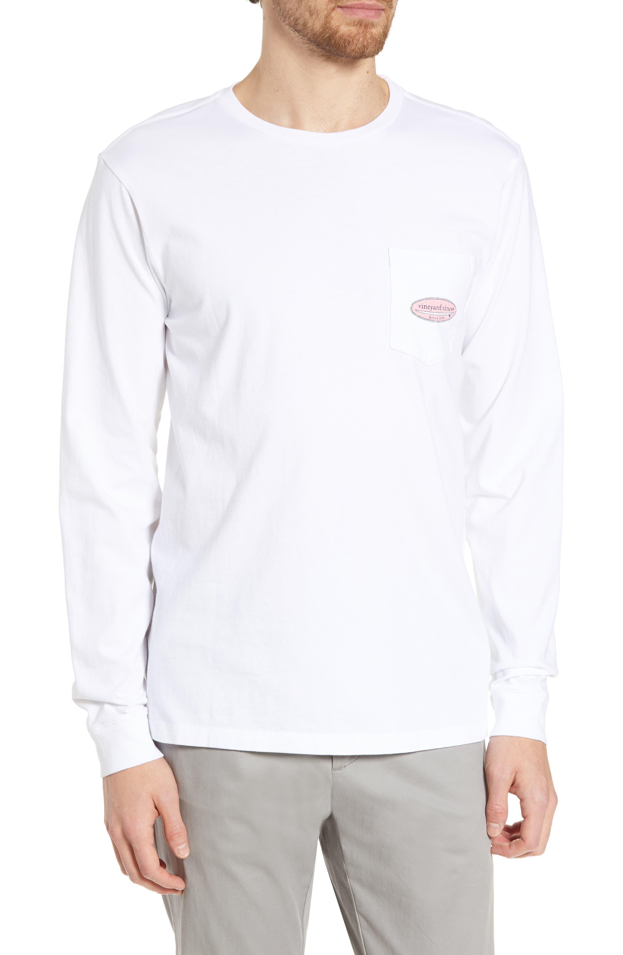 ,                             Surf Logo Long Sleeve Pocket T-Shirt,                             Main thumbnail 1, color,                             WHITE CAP