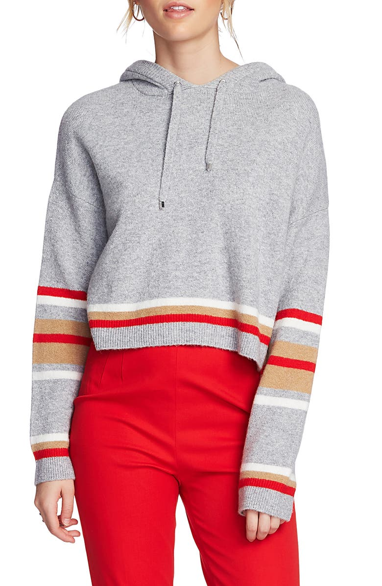 COURT & ROWE Stripe Hoodie, Main, color, SILVER HEATHER