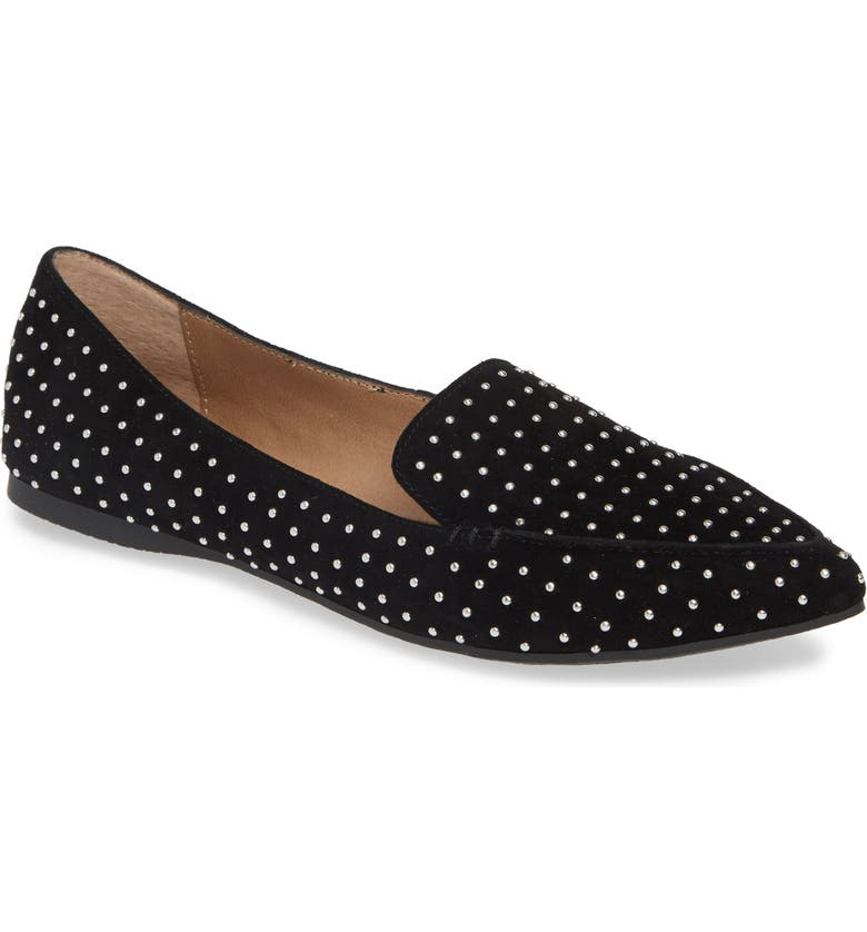 Feather Studded Loafer, Main, color, BLACK SUEDE