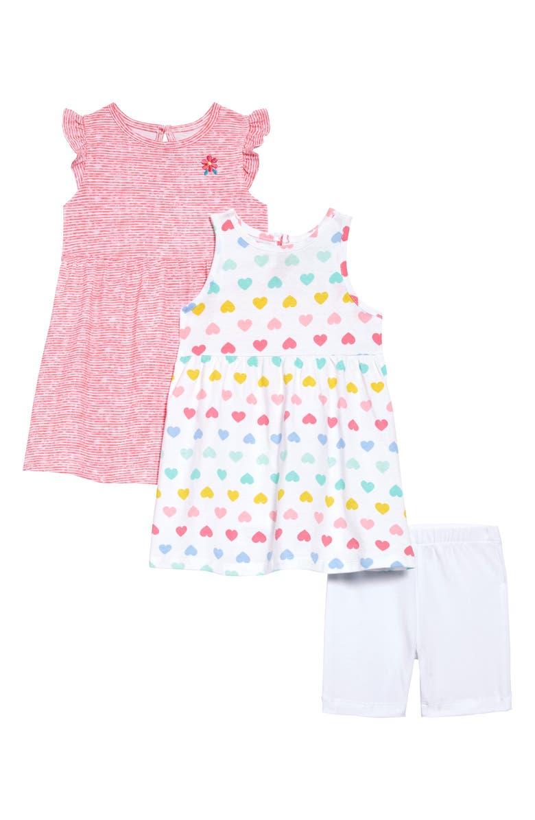 LITTLE ME Heart Knit Dresses & Shorts Set, Main, color, PINK
