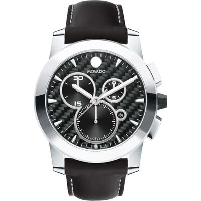Movado Vizio Chronograph Leather Strap Watch, 4m